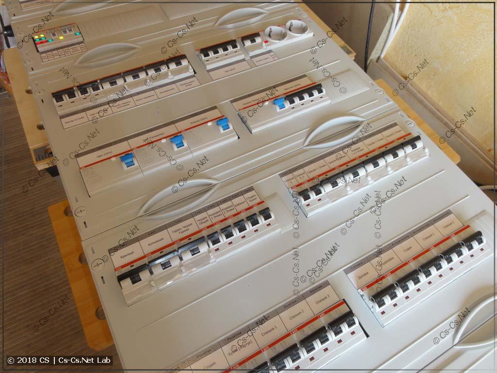 Заканчиваем щит: закрываем пластроны и клеим подписи автоматов