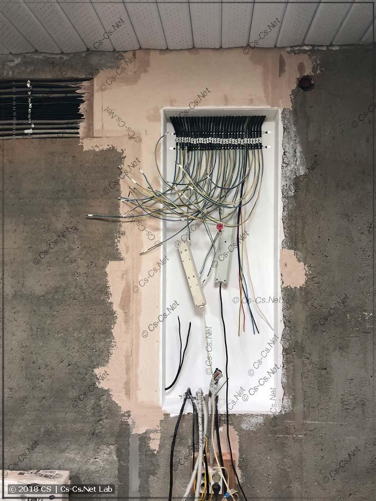 Все кабели подведены к месту для щита и разделаны для подключения