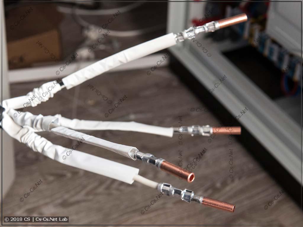 Заказчик наращивает кабель ввода при помощи гильз ГАМ