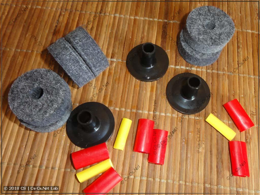 Правильные компоненты для крепления тарелок на стойки (фетры, втулка)
