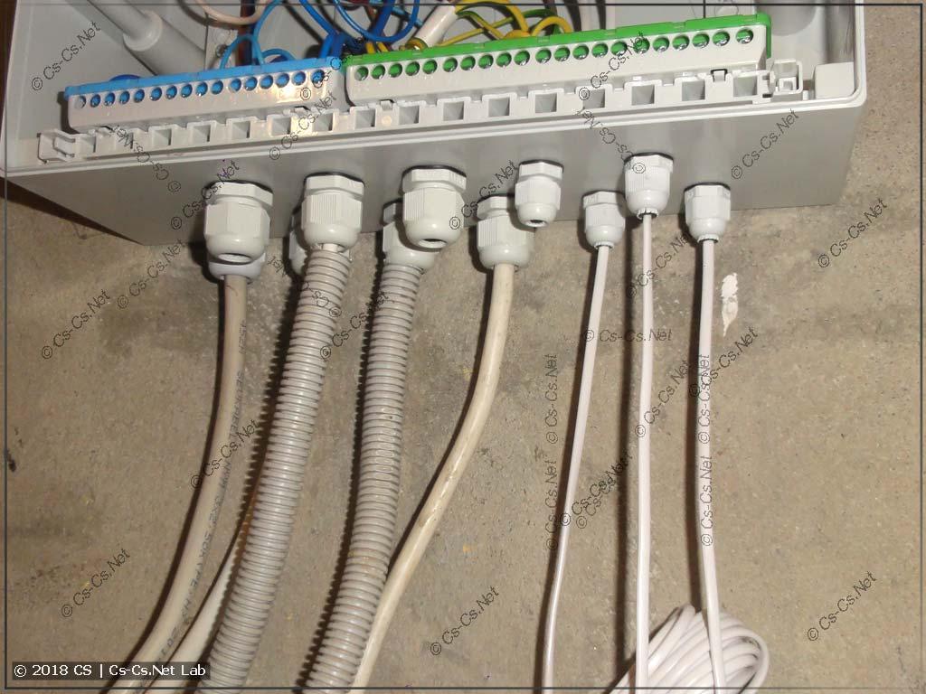Все кабели ради прикола заведены через сальники PG