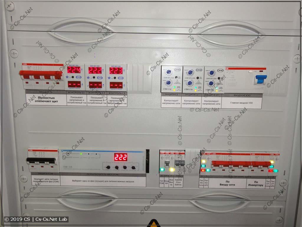 Вводная часть шкафа: ввод сети, инвертора, отключение лишнего, когда в доме никто не живёт