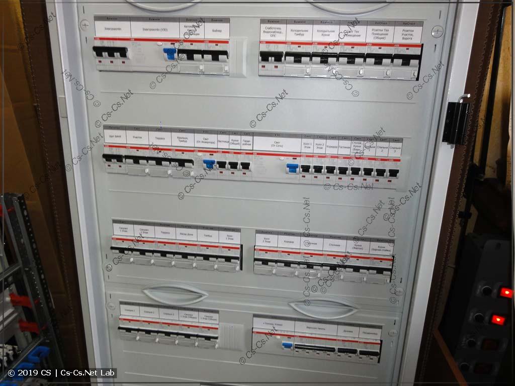 Силовая часть шкафа: дифавтоматы защиты отходящих линий