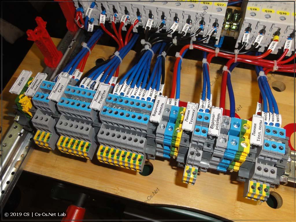 Клеммы для отходящих кабелей