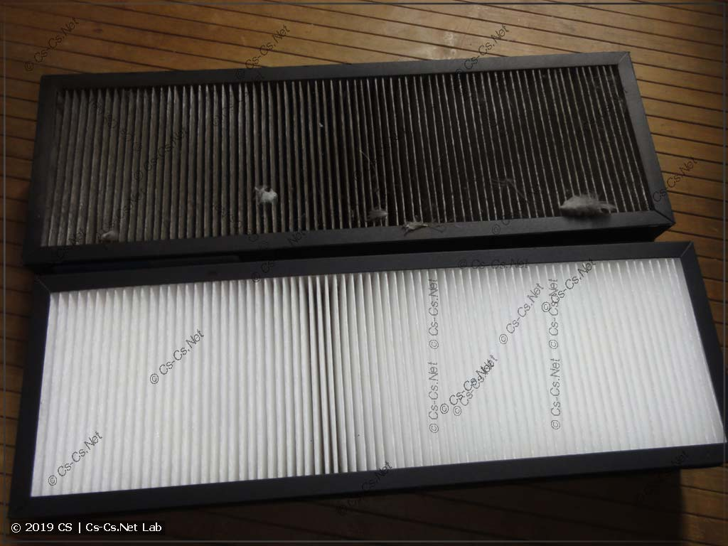 Свежий и засратый фильтры грубой очистки (после года использования)