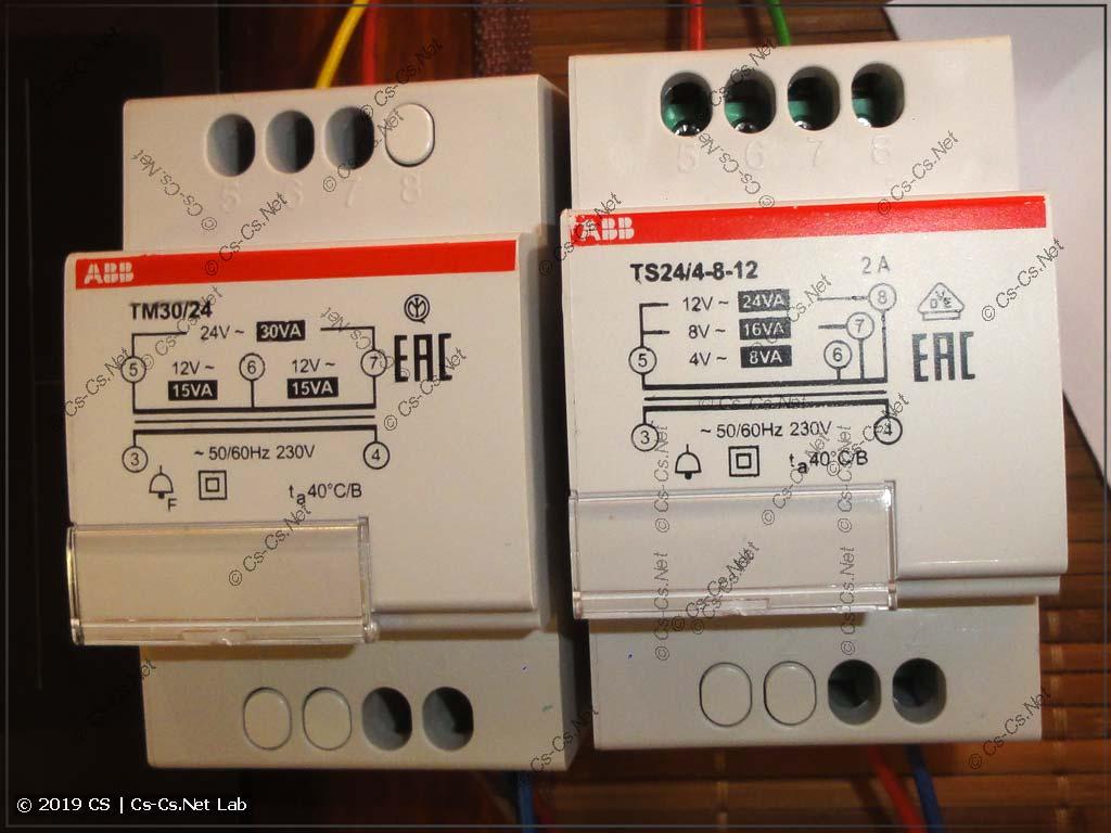 Звонковые трансформаторы ABB, которые выдают напряжение 20V для питания Nest Hello
