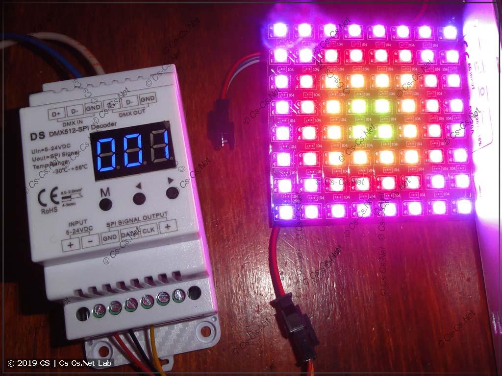 Светодиодная матрица на WS2812B и конвертор DMX -> SPI