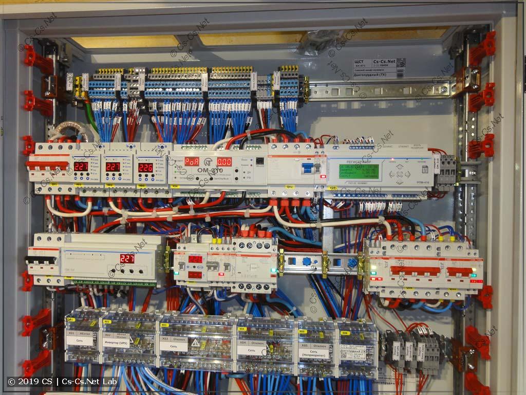 Ввод и управление питанием щита: реле напряжения, переключатель фаз, регистратор параметров, неприоритет