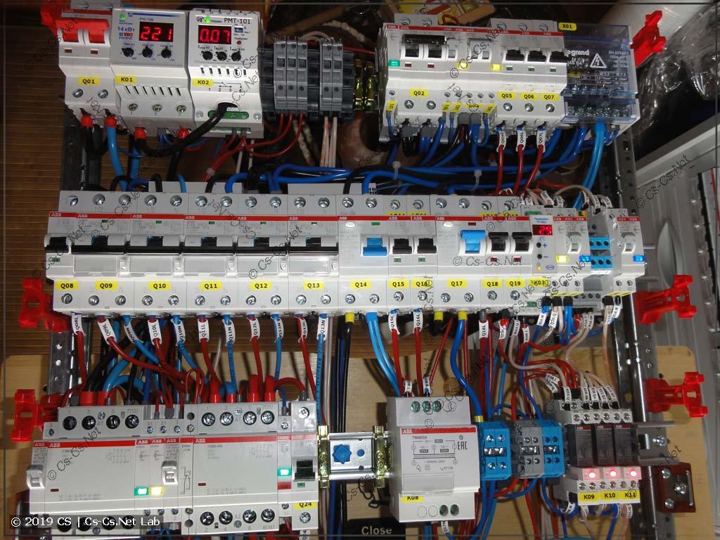 Вводная часть щита с неотключаемыми линиями и автоматикой вентиляции (кондиционер и заслонки)