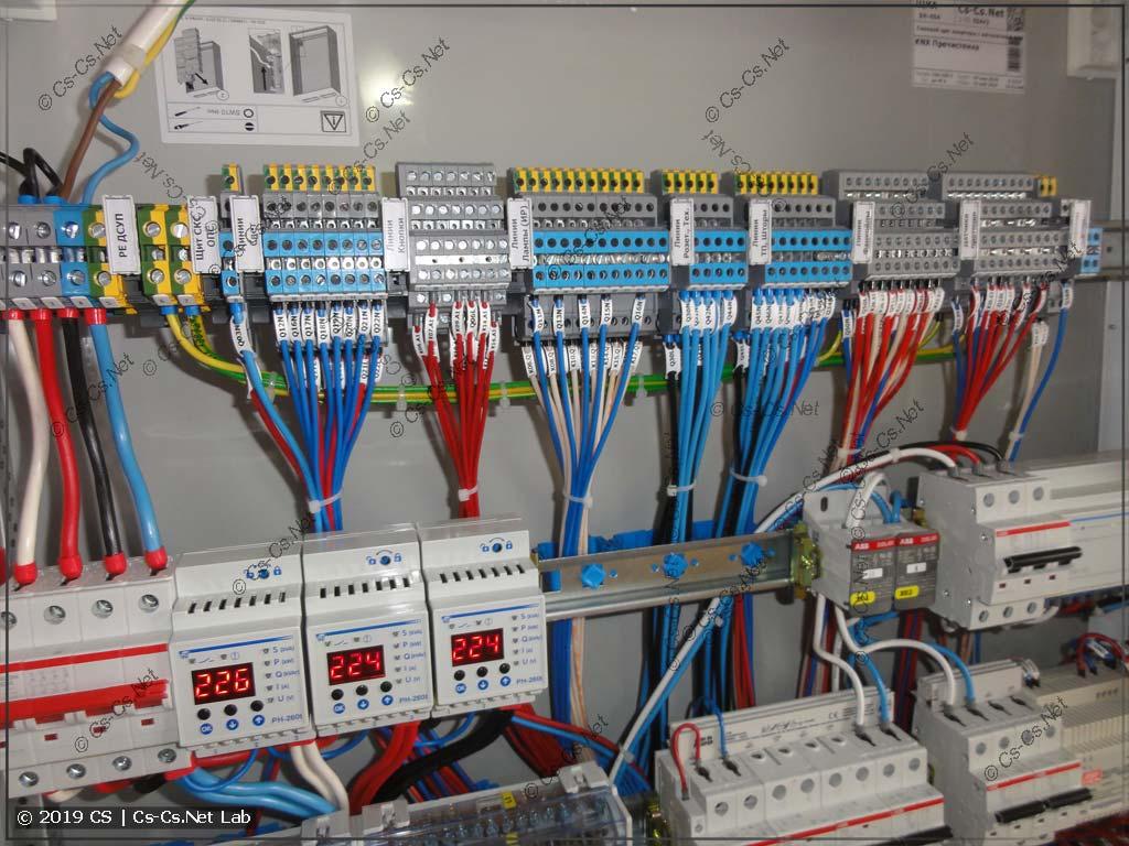 Место для подключения кабелей около клемм щита