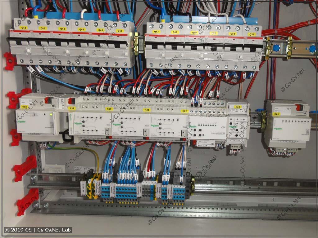 Часть щита с автоматикой KNX (отопление, вентиляция)