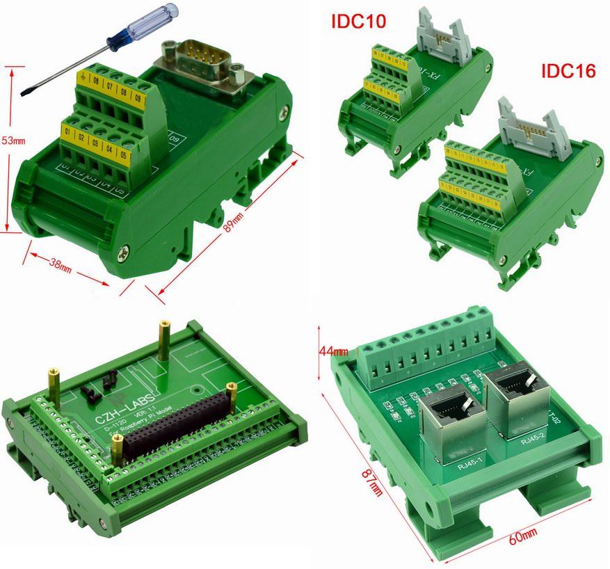Примеры коммутационных блоков на DIN-рейку (IDC, DB, RJ45, Rapsberry)