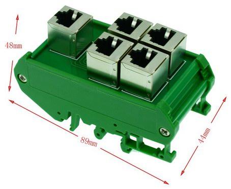 Коммутационный блок RJ45 на DIN-рейку (все разъёмы соединены параллельно)