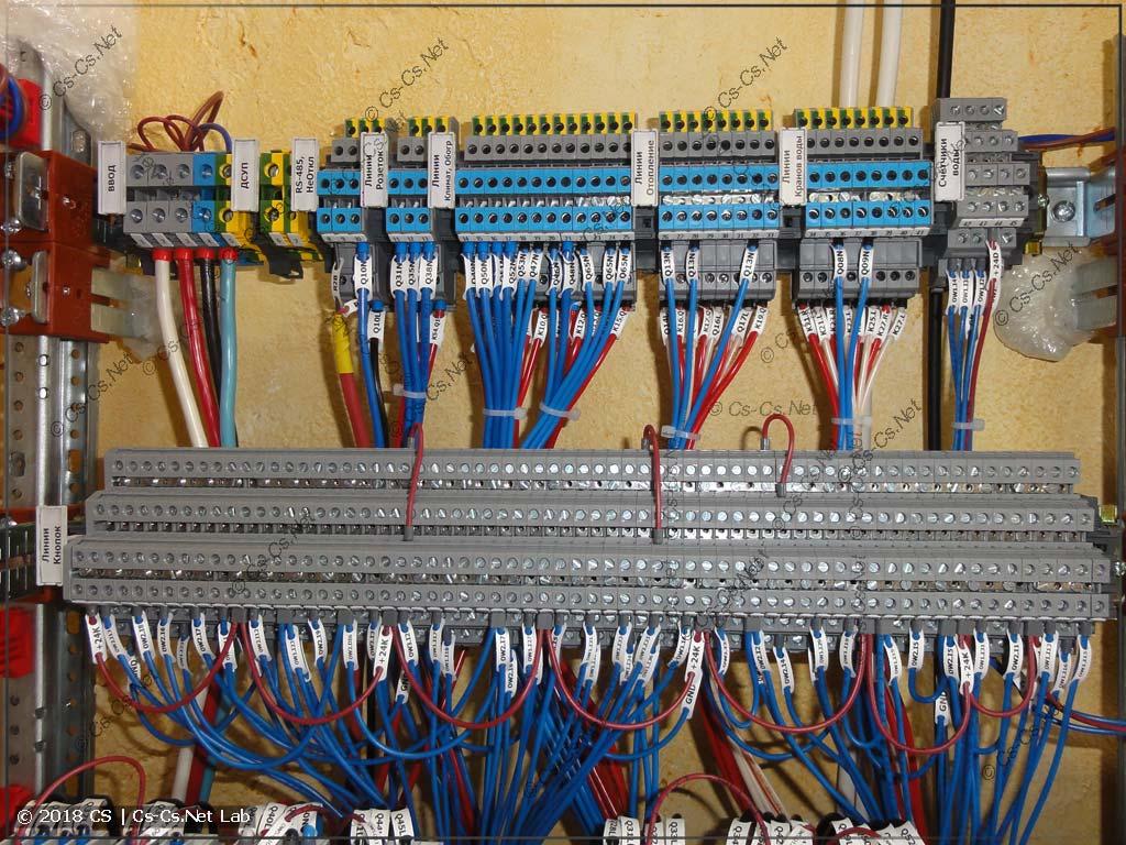 Клеммы для подключения кабелей (их много из-за ошибки проектирования)