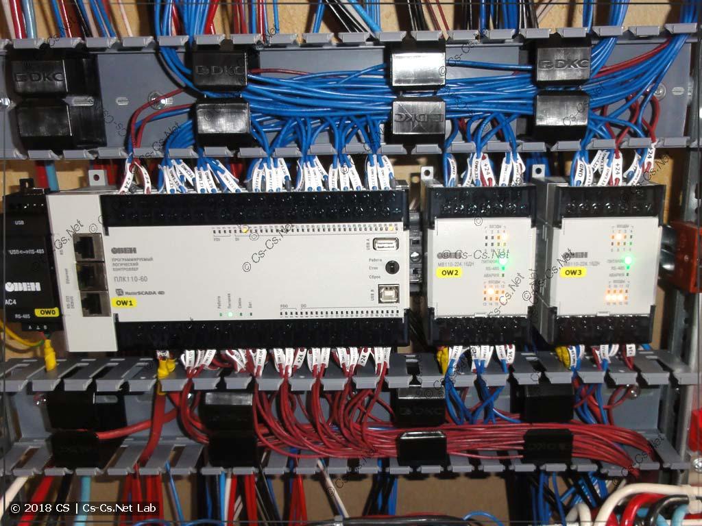 Подключение проводов к ПЛК и плотный монтаж в перфокоробе