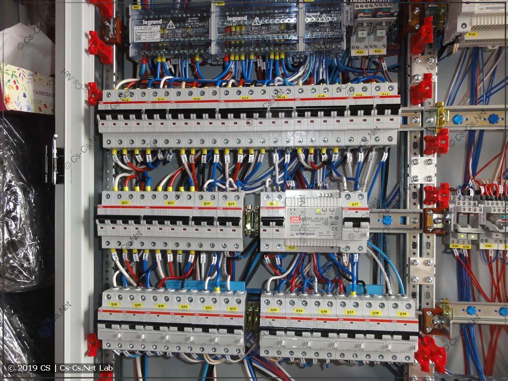 Силовая часть щита: дифавтоматы защиты модульки