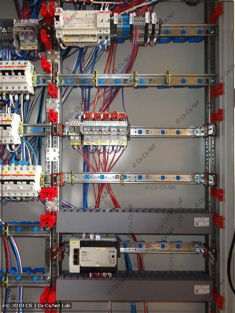 Часть щита с автоматизацией: ПЛК, исполнительные реле, резерв места под модули