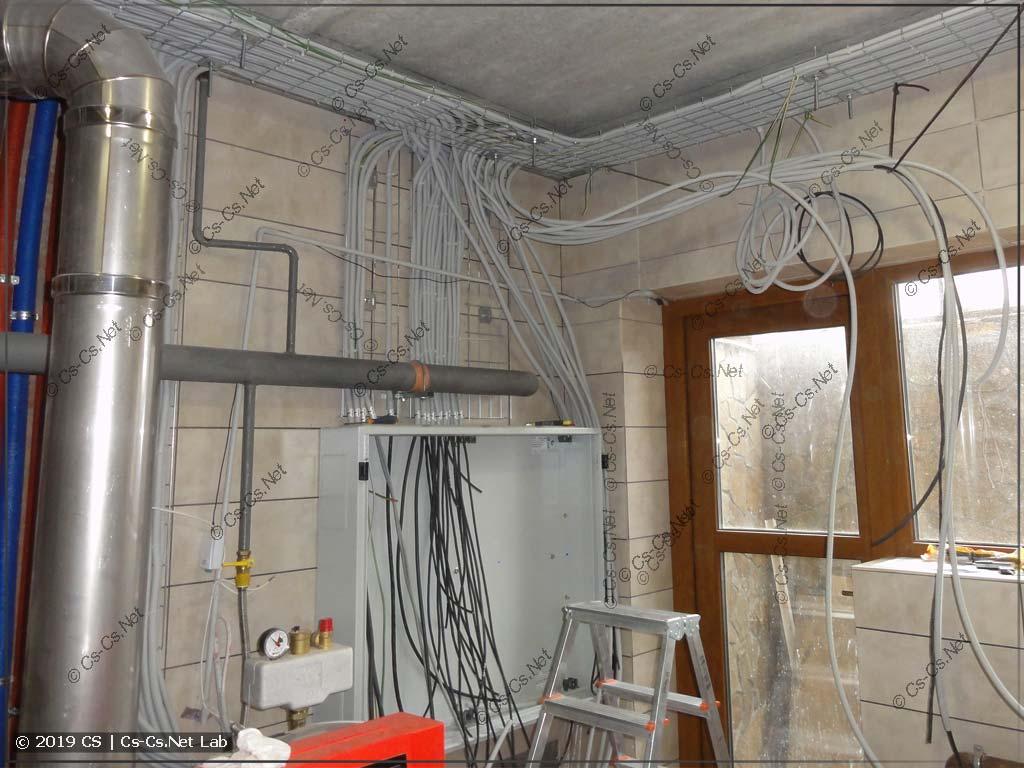Процесс завода кабелей на лотки опусков и к щиту