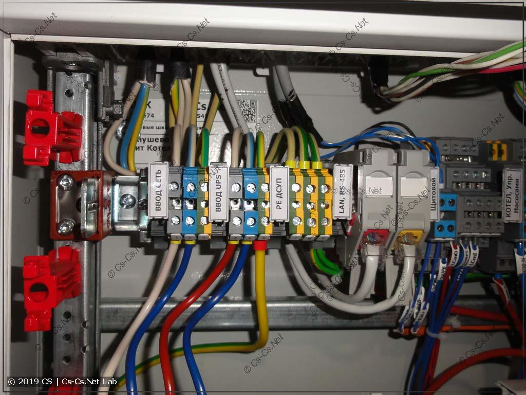 К щиту подключены вводные кабели, магистральный RS-485 и Ethernet