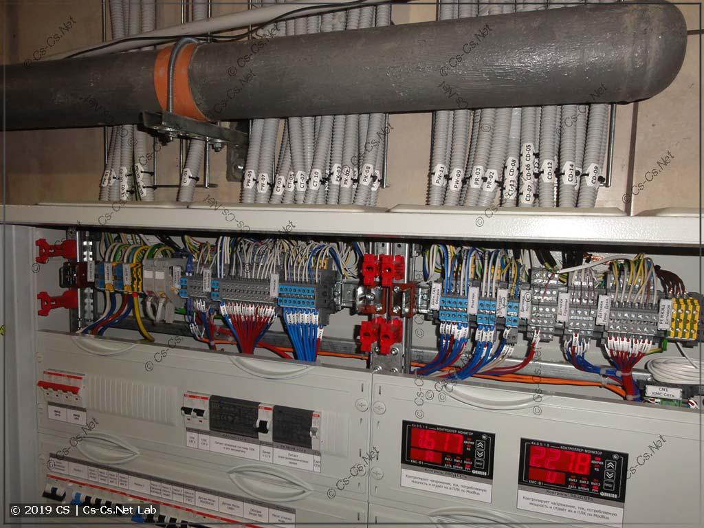 Все кабели к щиту полностью подключены