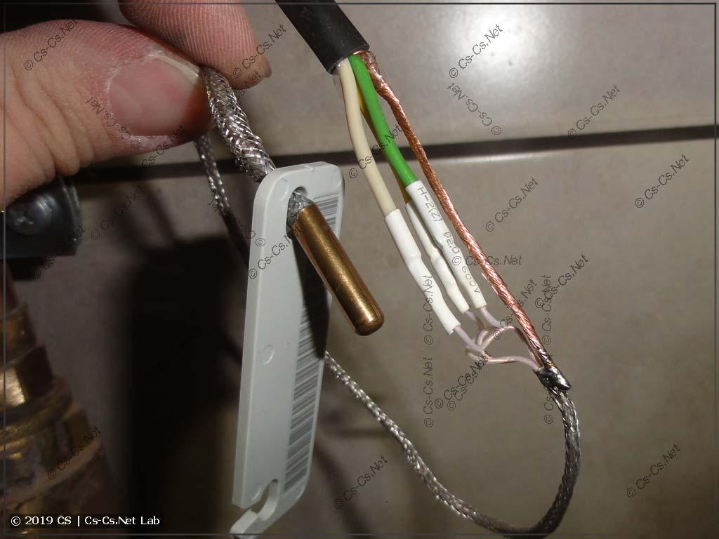 Подключение датчика к кабелю МКЭШ: припаиваем остальные провода и экран