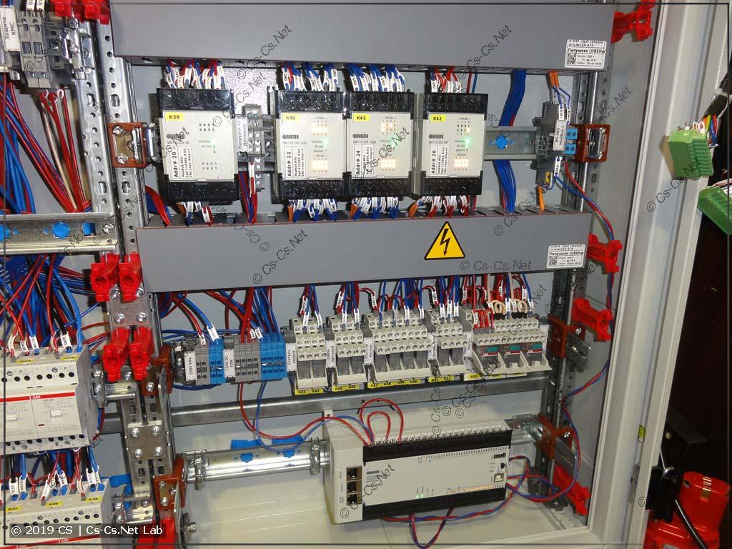 Часть автоматики щита (модули ввода-вывода и исполнительные реле)