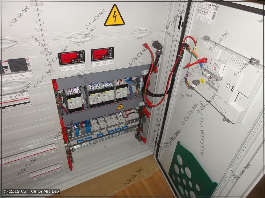 Установили дверь щита на место, подключили шлейфы СПК. Тестовый ПЛК110 убран