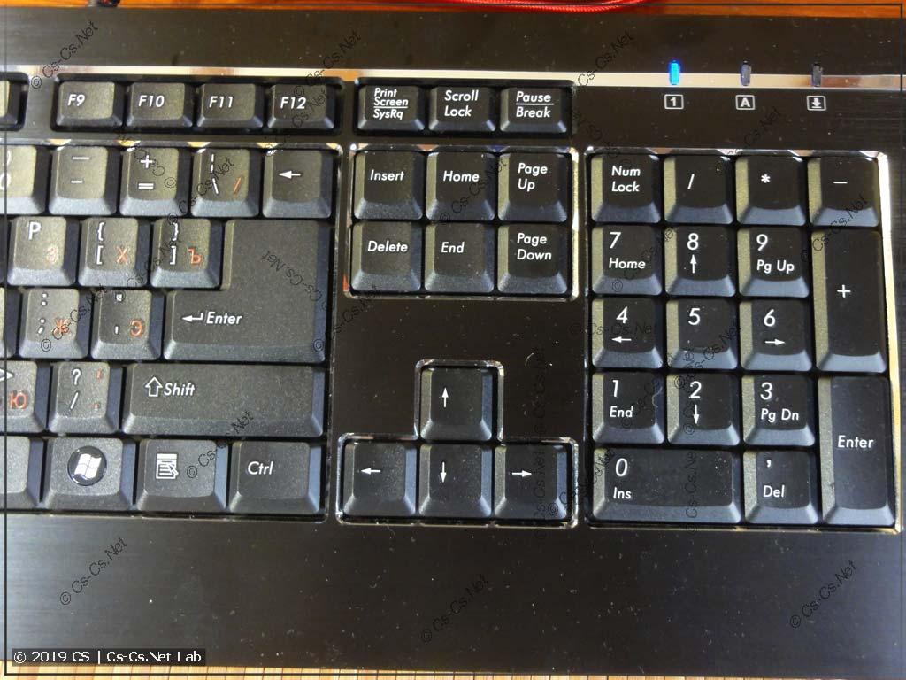 Стандартное расположение большого Enter и кнопок NumPad