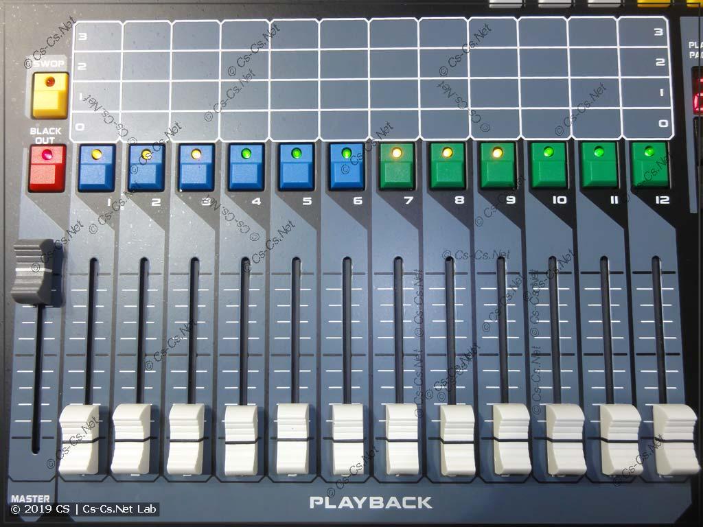 Переделанные цвета кнопок Playback'ов пульта King King 1024s