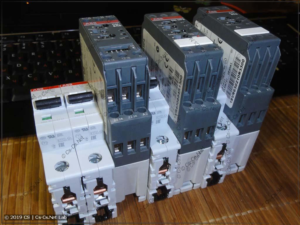 Размеры реле ABB промышленной серии в несколько раз больше размеров обычной модульки (и в обычный щит их не поставить)