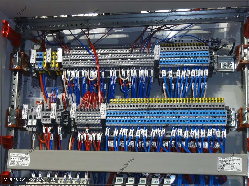 Клеммы для подключения всех отходящих кабелей к щиту