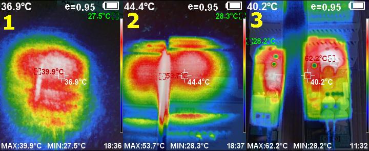 Тепловизионная съёмка Mean Well ICL: под плёнкой (1), с открытой плёнкой (2) и нагрев реле внутри корпуса (3)