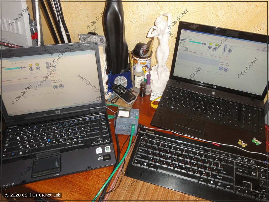 Пример работы WEB-визуализации CodeSys на двух компьютерах одновременно