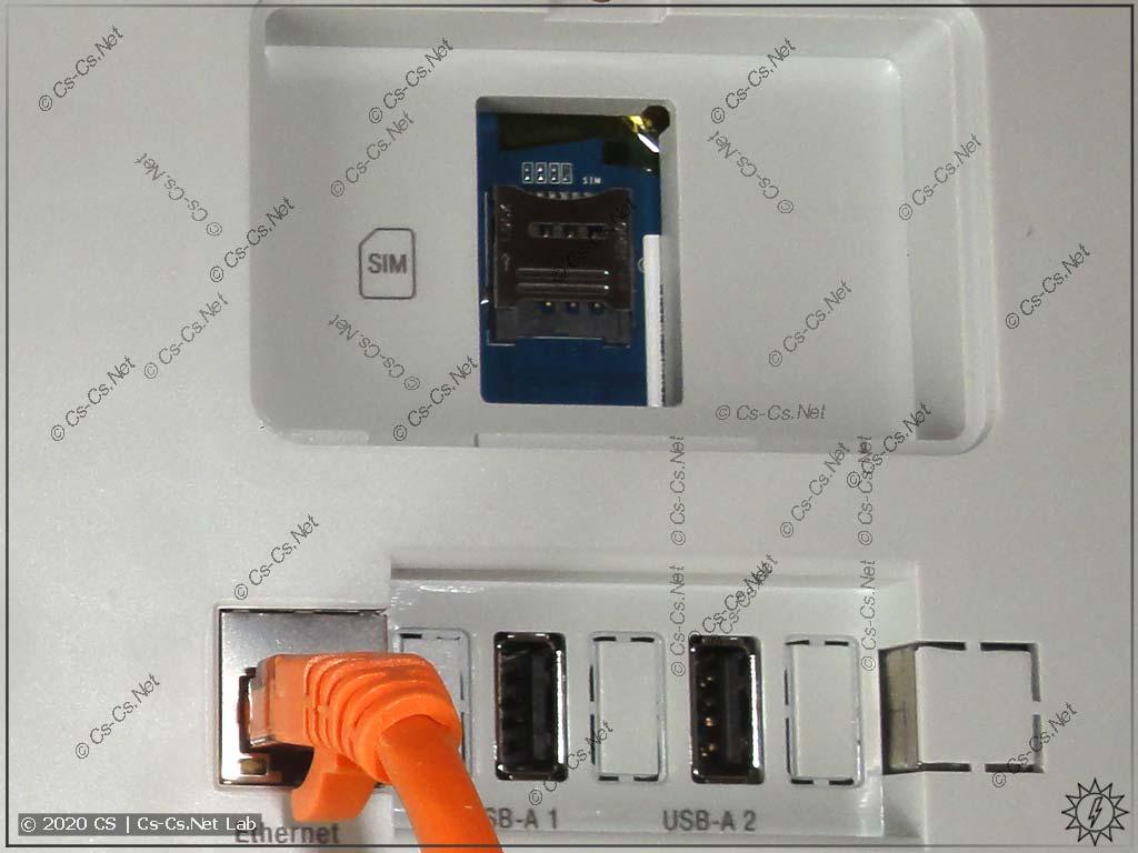 Слот для SIM-карты и разъёмы USB/Ethernet