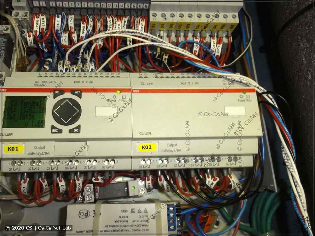 Провода от модуля IO подключены напрямую на логическое реле ABB CL, на котором собрана моя автоматика