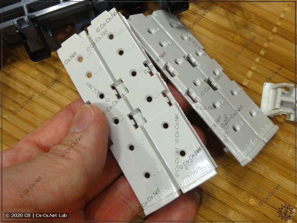 Заглушки ZLS100 можно разламывать по частям, если надо закрыть не 4 модуля шин сразу
