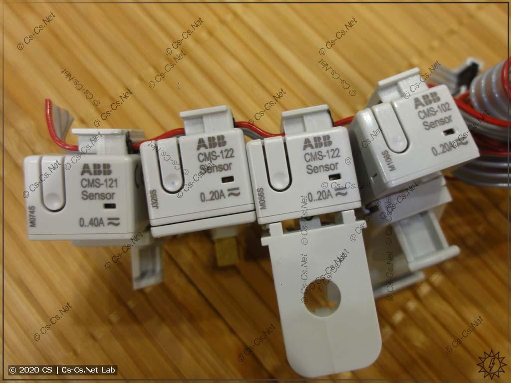 Различные виды датчиков для системы ABB CMS (открытые, закрытые, под стяжку, на DIN-рейку, вид спереди)