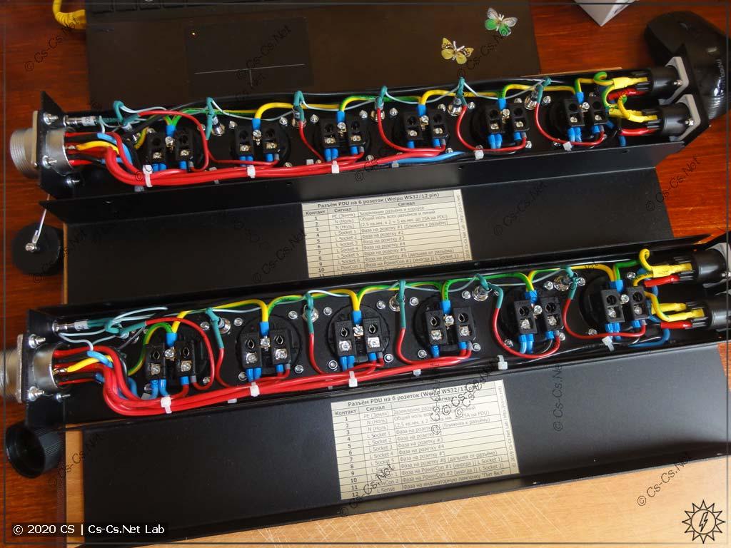 Процесс монтажа рахводки панелей PDU закончен. Красотища!