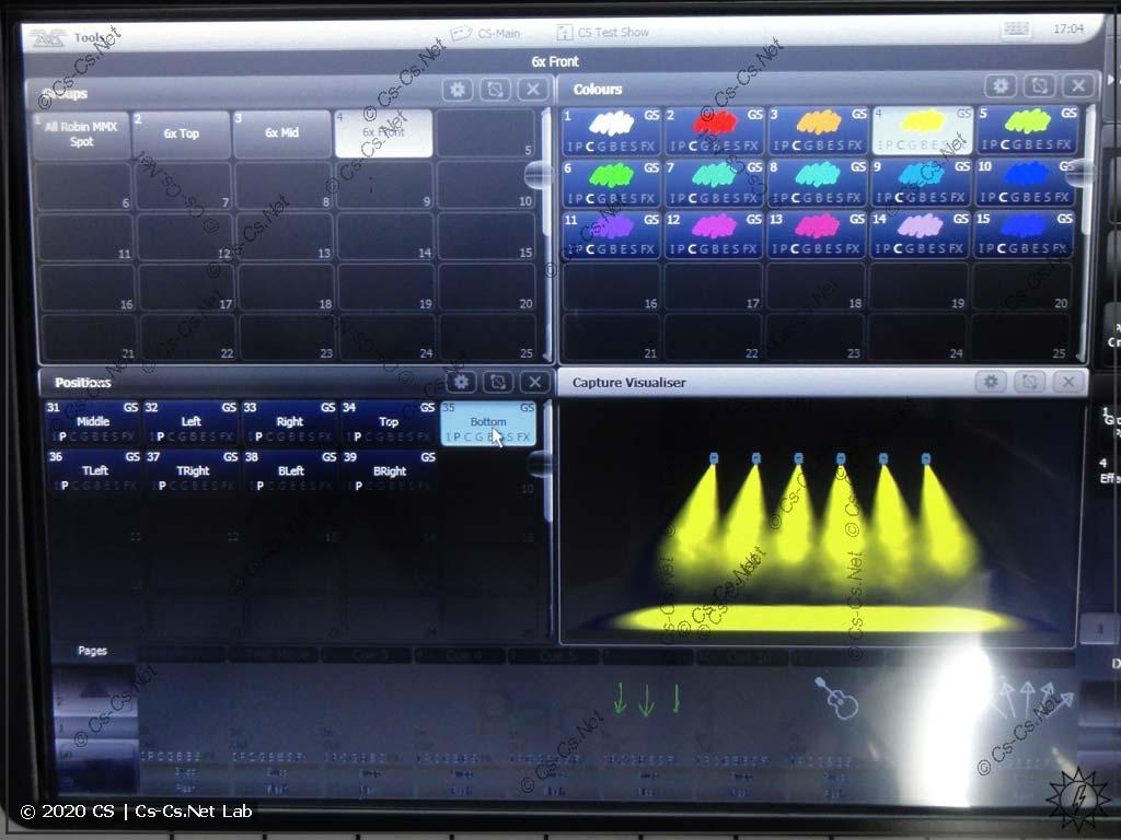 Интерфейс Tiger Touch II: Основные окна на экране (группы, пресеты цветов, позиций, визуализатор)