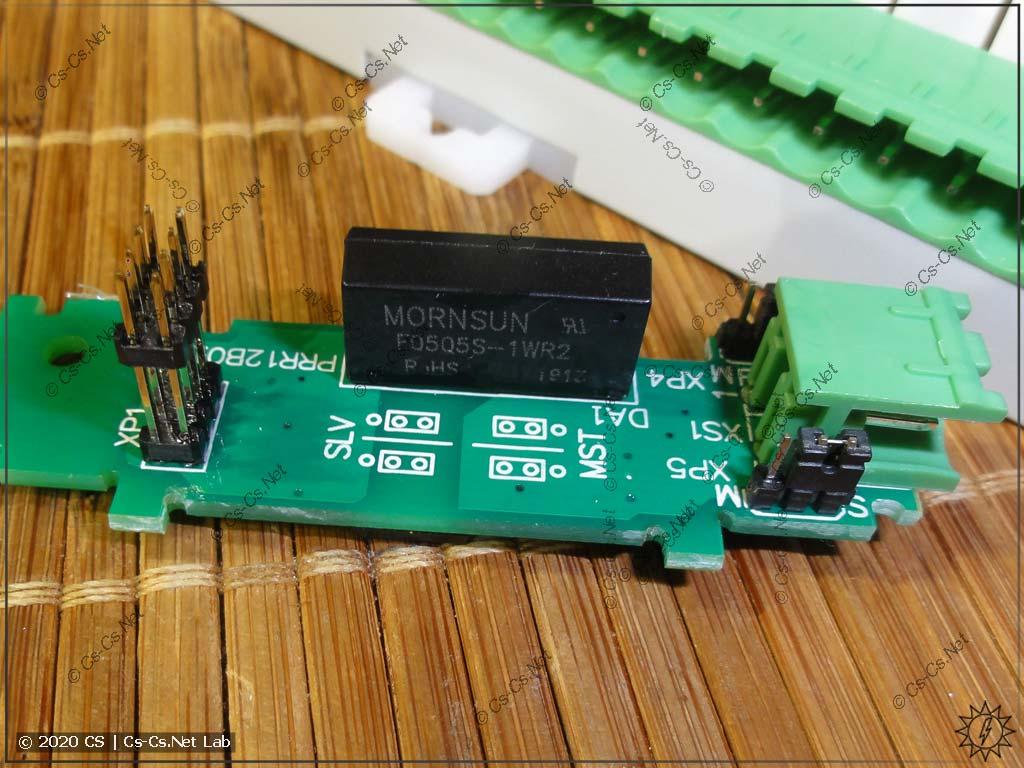 Модуль интерфейса RS-485 для ОВЕН ПР200 (виден DC/DC-преобразователь для гальванической развязки)