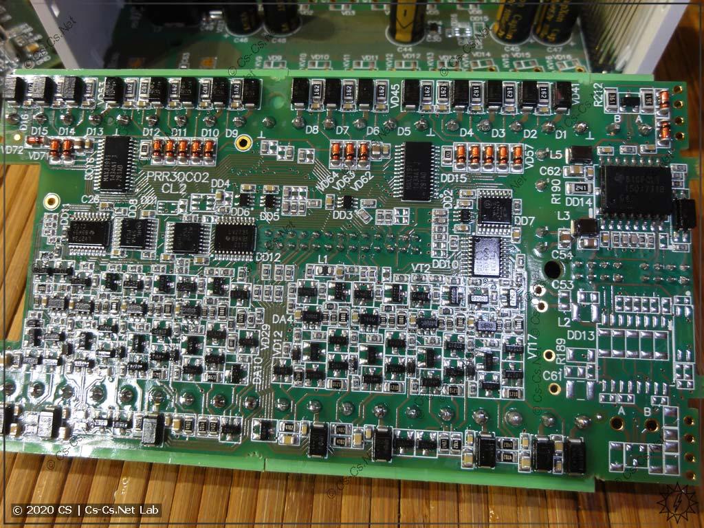 Плата ОВЕН ПР102 со входами (цифровые и аналоговые, обратная сторона)