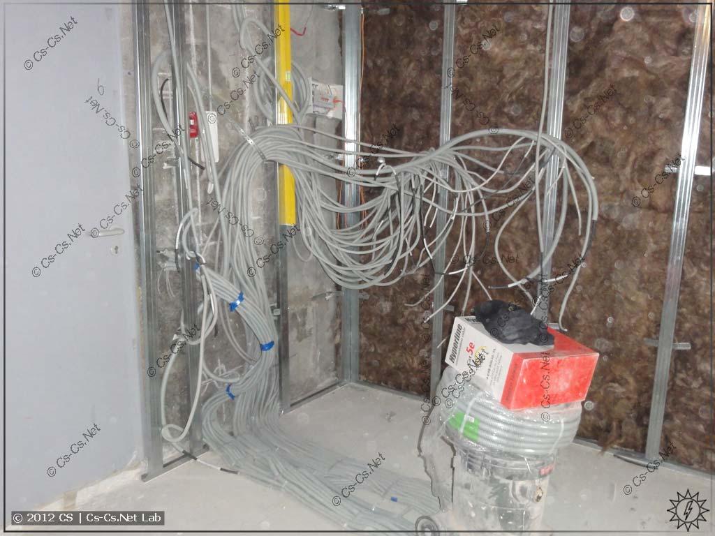 Ктулху кабелей около будущего щита! А теперь работничкам надо будет всё это зашить в ГКЛ