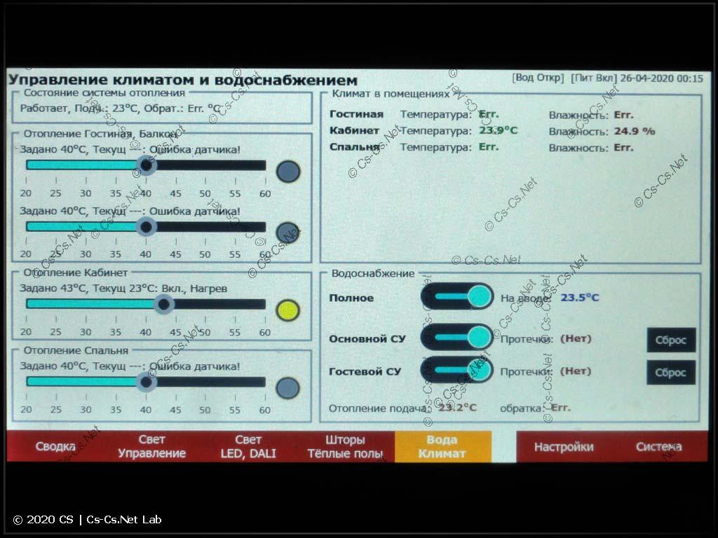 Одна из вкладок интерфейса щита (отопление и водоснабжение)