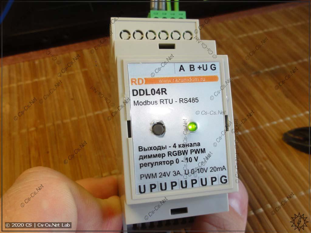 Ура! Теперь на панели диммера есть кнопка управления и индикаторный светодиод