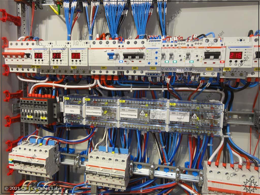 Вид на IPM щита с простым АВР на контакторах ABB AF