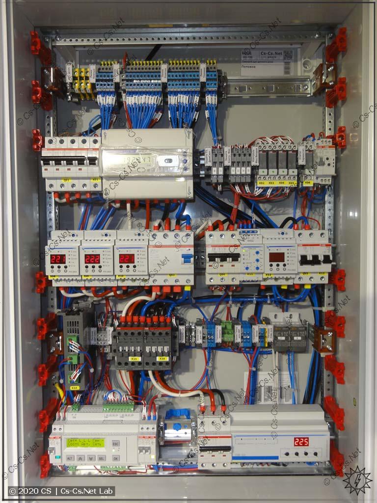 Монтаж верхней части шкафа с IPM™ АВР на ОВЕН ПР200 и контакторах ABB AF38