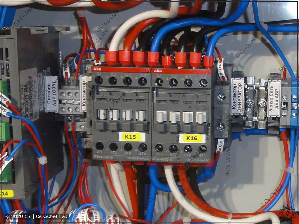 Контакторы ABB AF38 для АВР: на 4 полюса, с механической и электрической блокировкой