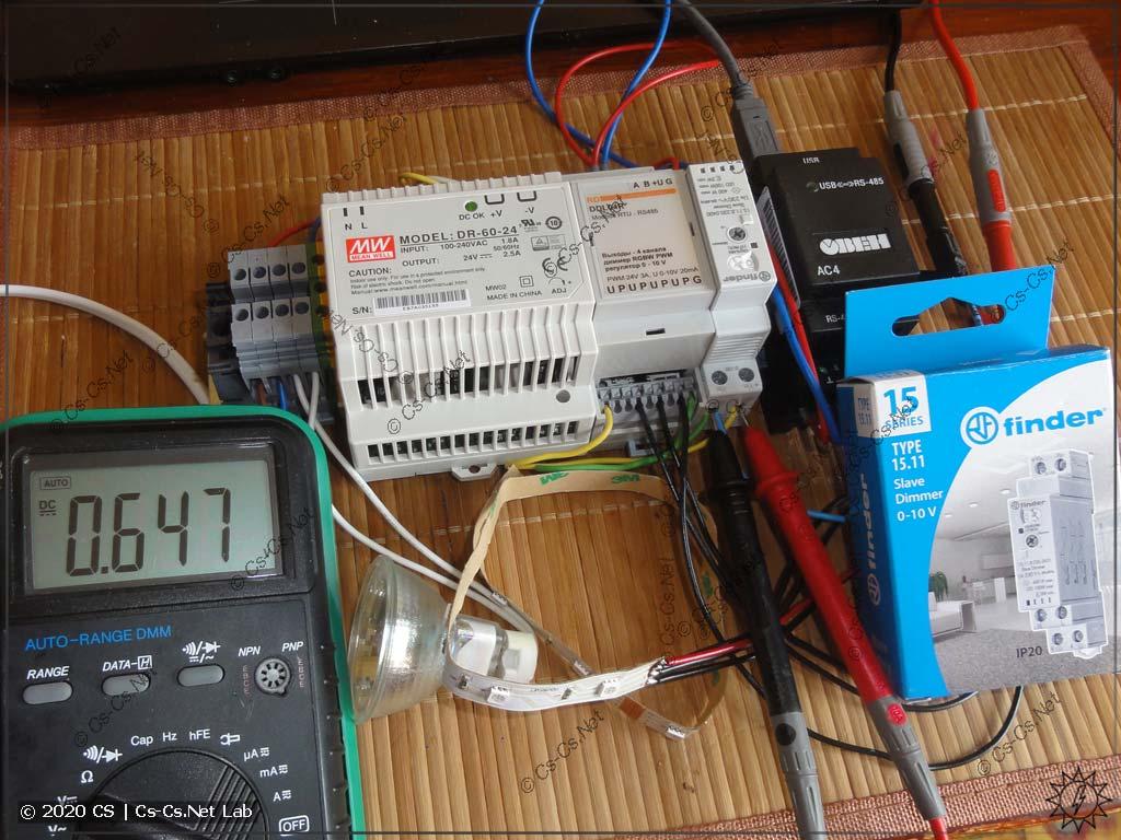 Тестовый стенд для диммера DDL04R: регулируем лампы через диммер Finder 0..10V и RGB LED-ленту