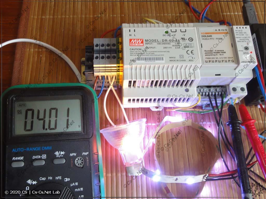 Тестовый стенд для диммера DDL04R: лампочка работает от 0..10V от диммера Finder, а LED-лента - от каналов PWM