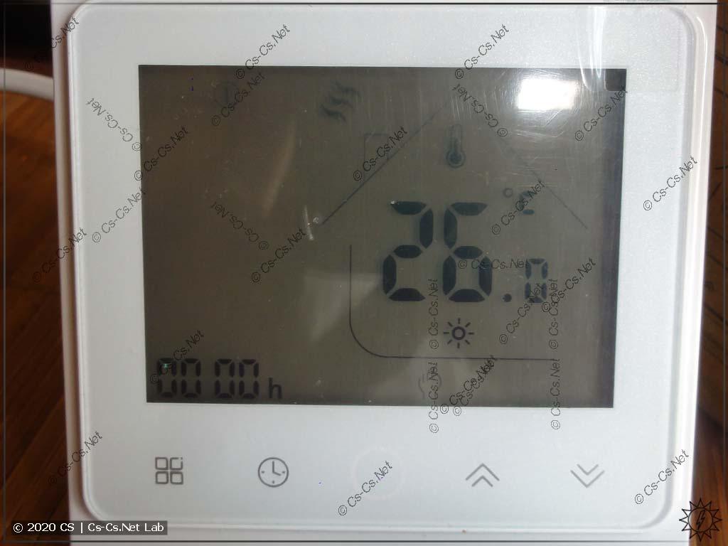 Передняя панель термостата (подсветка выключена)